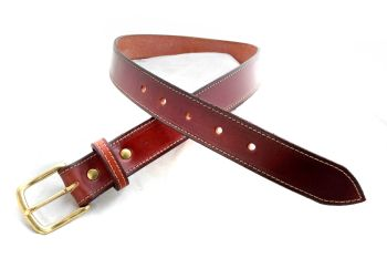 Handmade Brown Leather Belt with Brass Buckle