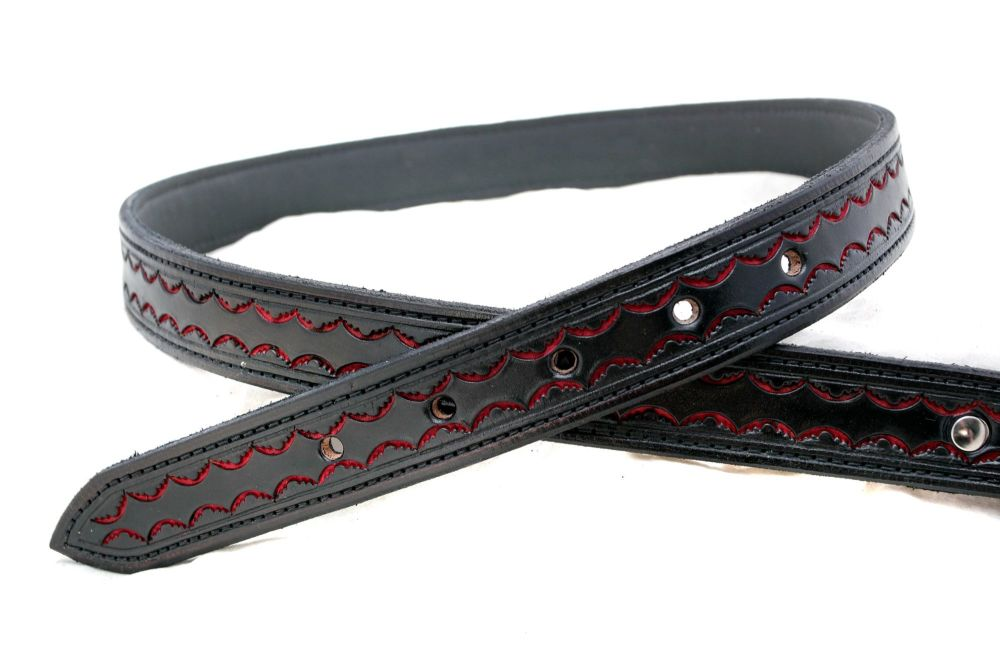Handmade Black and Red Tooled leather Belt