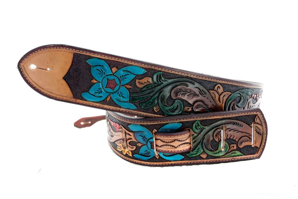 Handmade Leather Scroll Tooled Guitar Strap