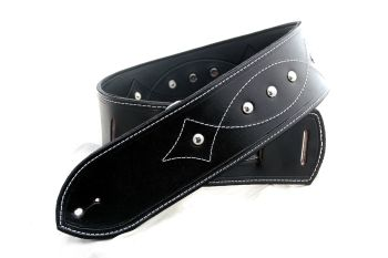 Handmade Black Leather Dome Studded Guitar Strap With Galvestone Loop Stitching