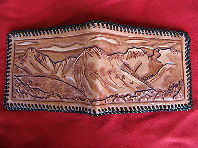 Handmade Lake District Leather Wallet with Scafell Pike scene