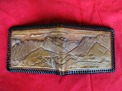 Handmade Lake District Leather Wallet with Langdale Pike scene