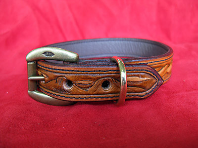 Handmade Leather dog collar with mountain scene