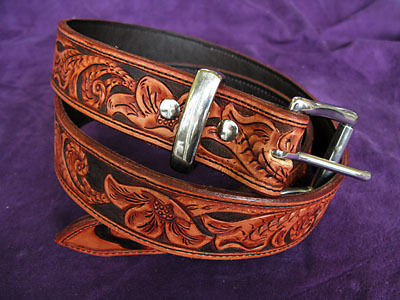 Handmade Leather Floral tooled Belt