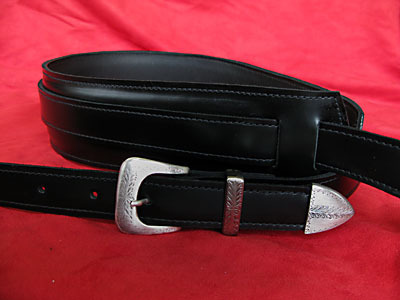 Handmade black leather Guitar Strap with Italian buckle