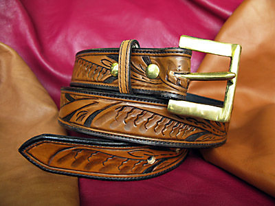 Handmade Tooled Leather Belt