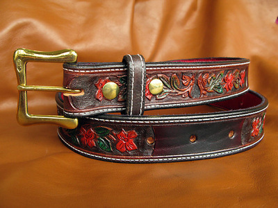 Handmade Leather Wild Rose Belt