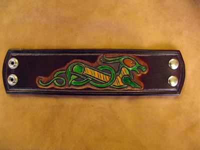 Handmade Leather Celtic Dragon Wristband.