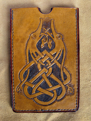 Handmade Leather Celtic Lovebird Phone Case.