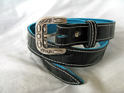 Handmade Black Alligator Print Belt