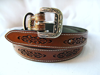 Handmade Stamped Leather Belt