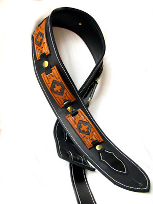 Handmade Leather Aztec Design Guitar Strap