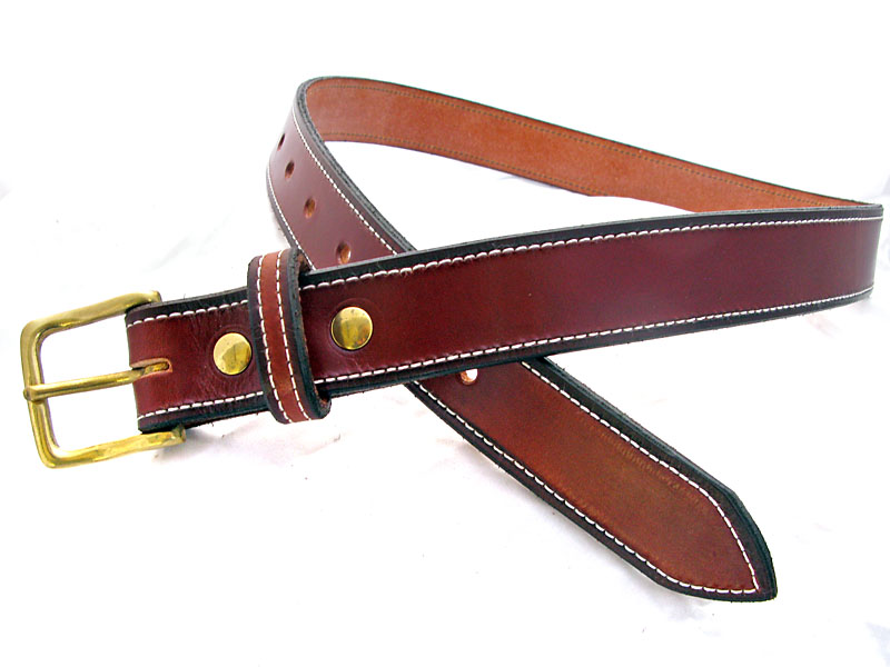 Handmade Brown Stitched Leather Belt