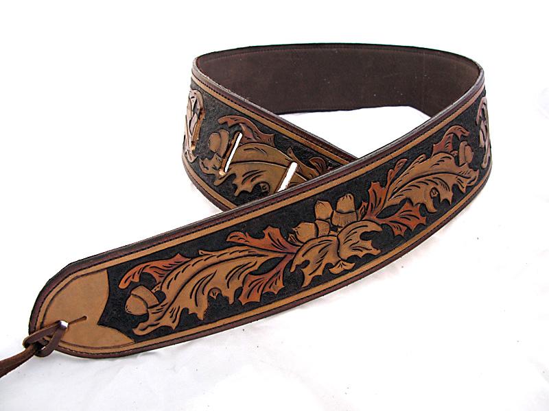 Handmade Leather Oak Leaf Guitar Strap