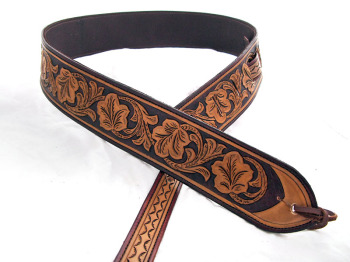 Handmade Leather Leaf Pattern Guitar  Strap