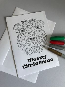 Colour Me Guinea Pig Christmas Card