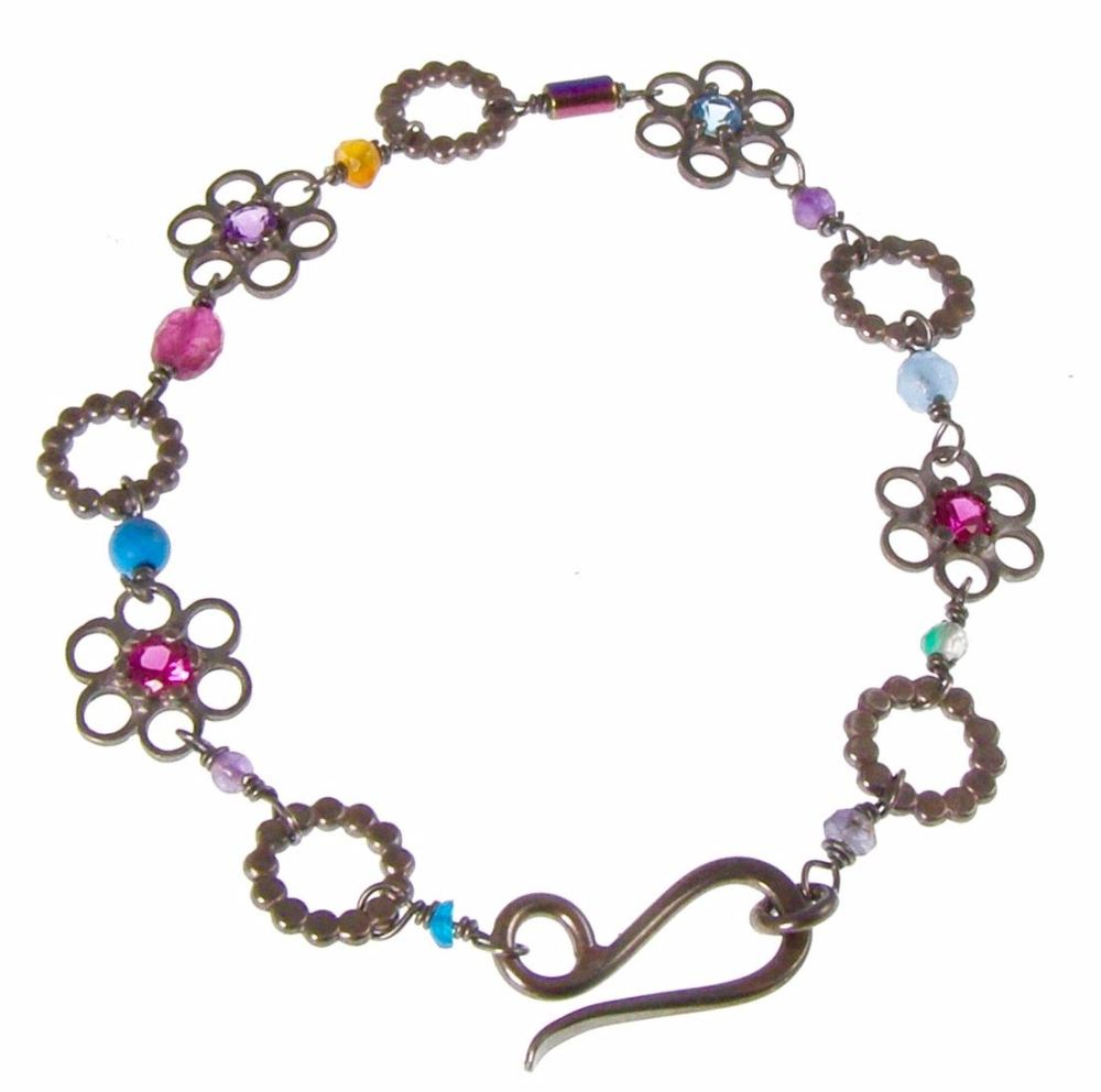 Oxidised stone set flower bracelet