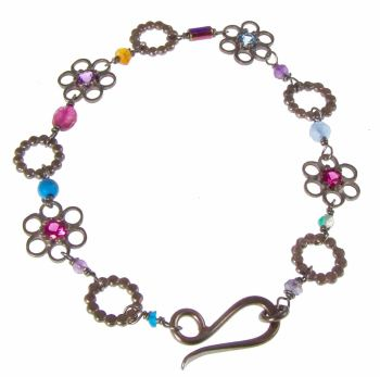 Oxidised stone set flower bracelet