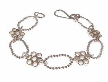 Silver flower block bracelet