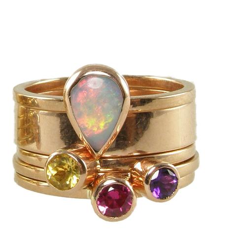 Rose gold stack ring set