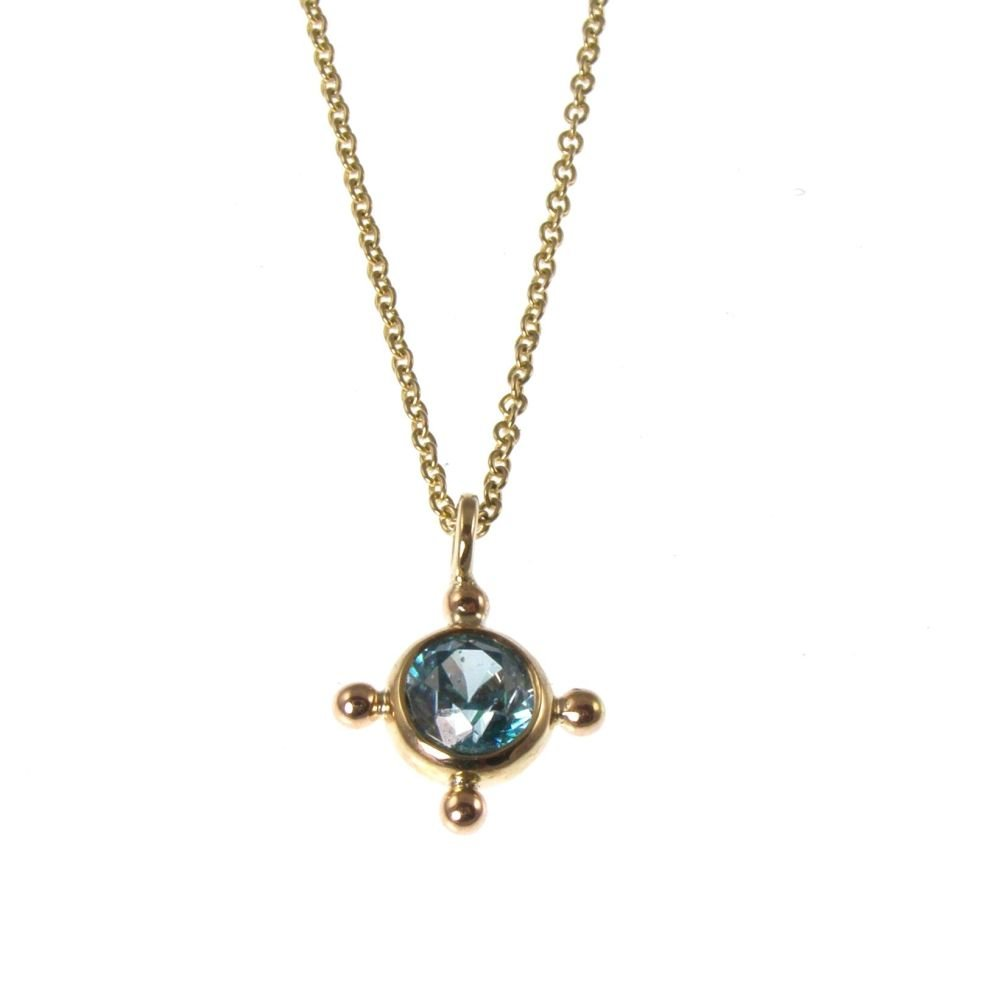 Blue zircon necklace