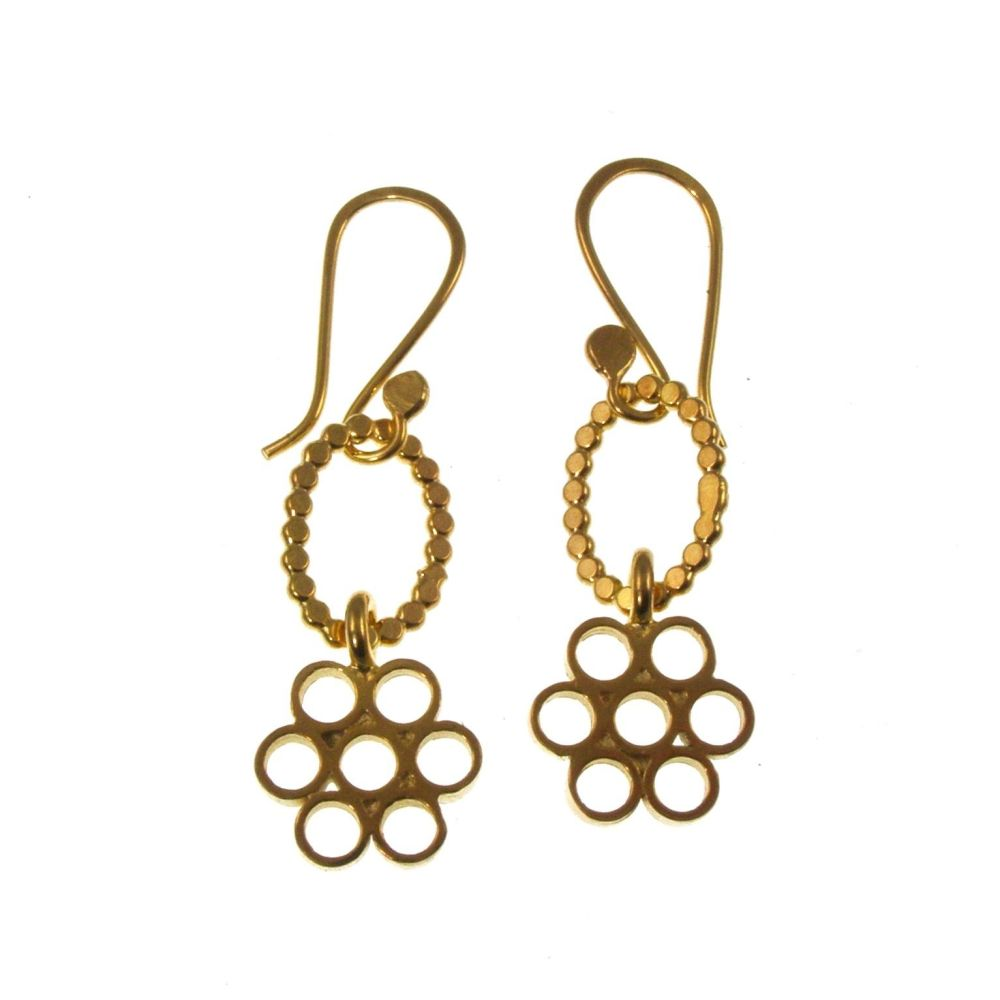 Gold flower block earrings