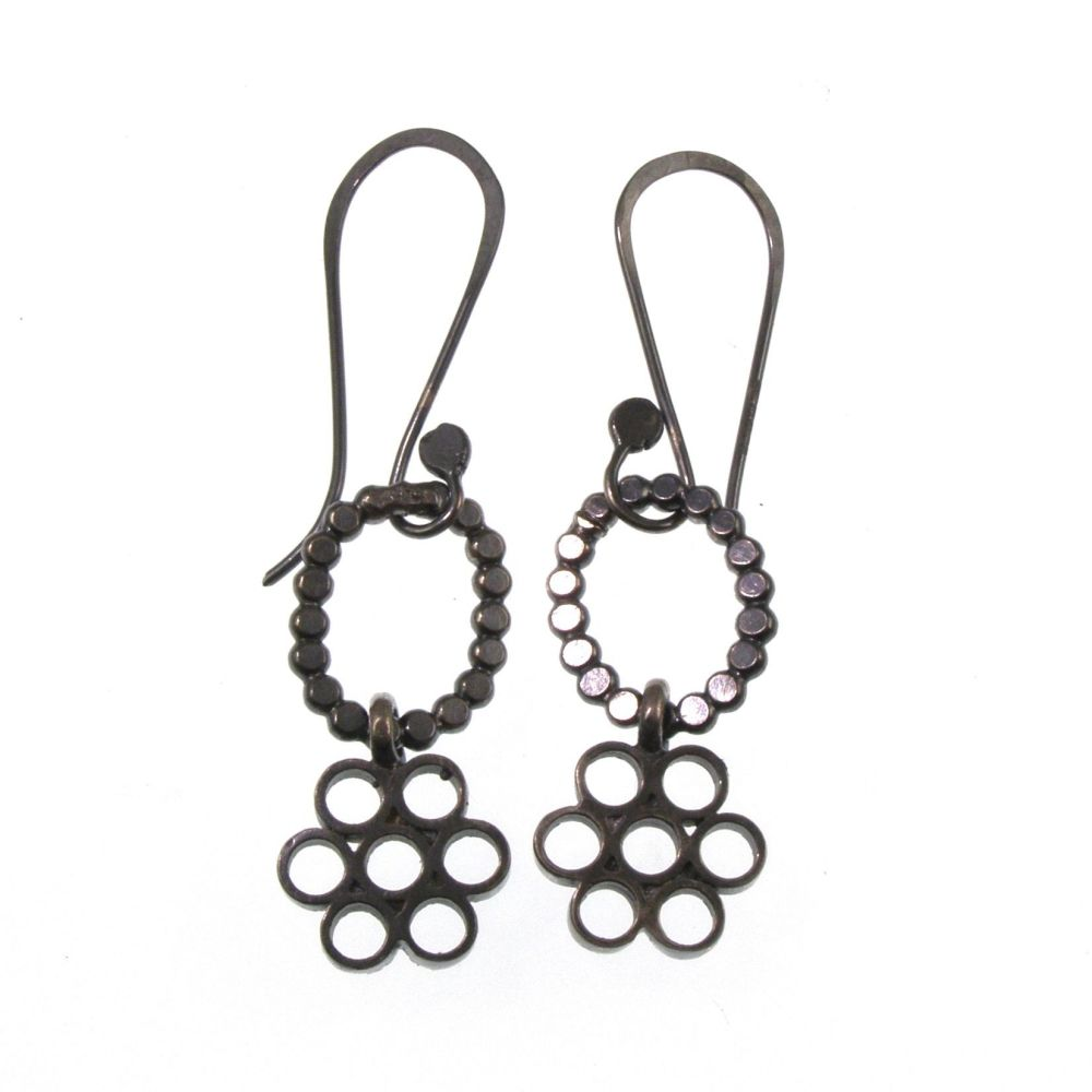 Oxidised silver flower block earrings