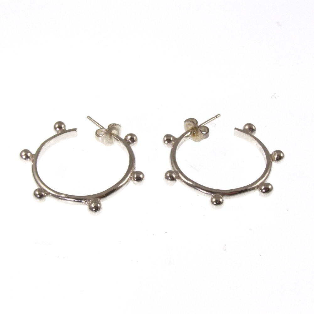 Silver bobble hoops