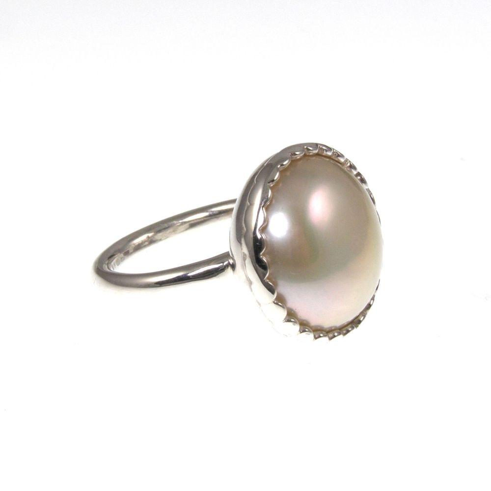 White Pearl Dress Ring