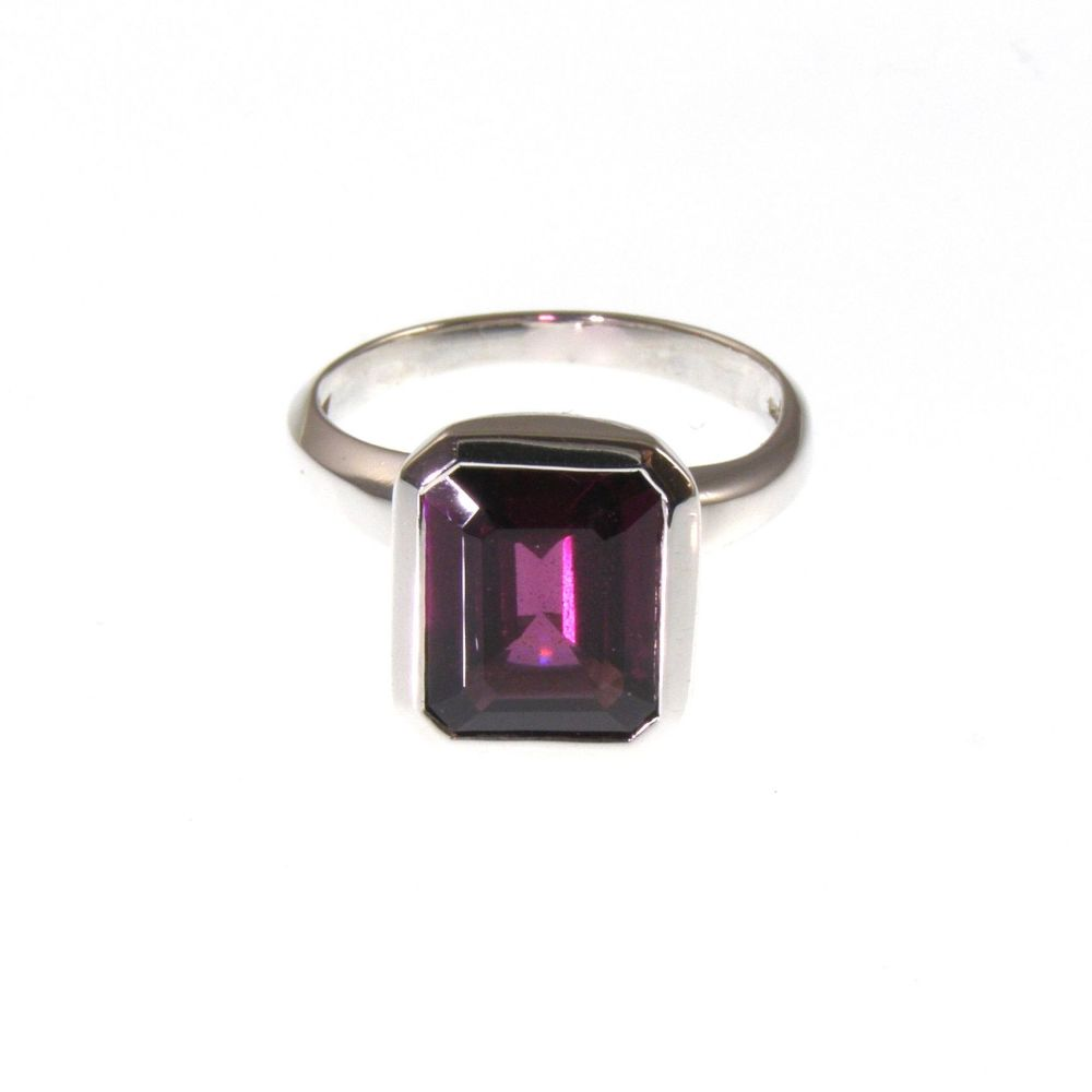 Garnet emerald cut ring