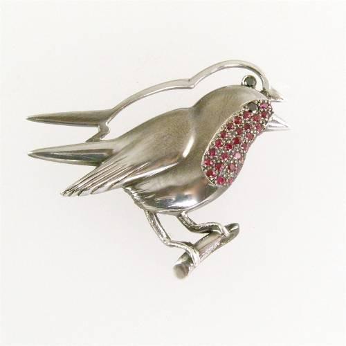 oxidised silver robin set with rubies and black diamonds