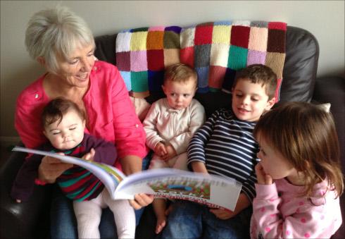 Eileen with grandchildren