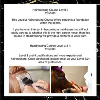 Hairdressing Training:- Level 2, 3 & 4