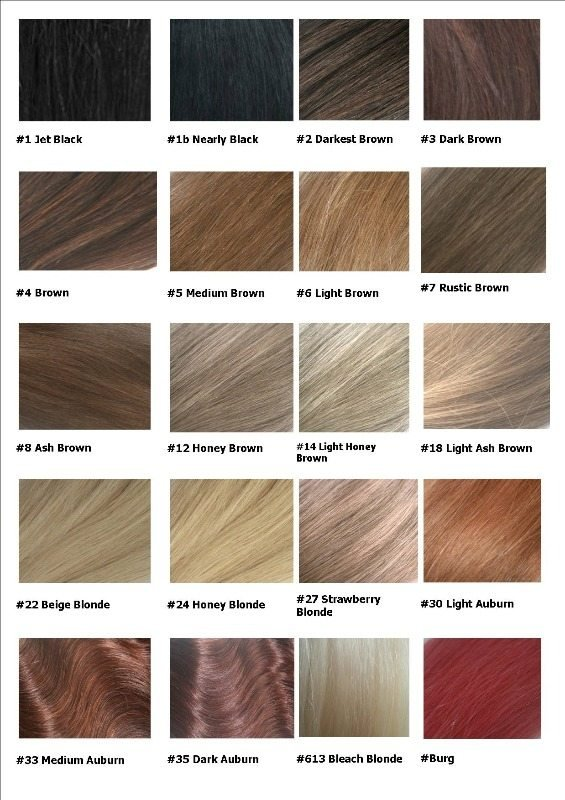 Remy hair extensions colour chart