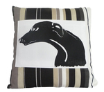 Greyhound Cushion - Onyx Stripe