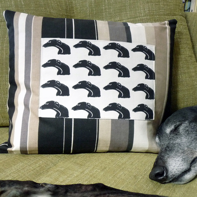 Greyhound Cushion - Onyx Stripe Panel