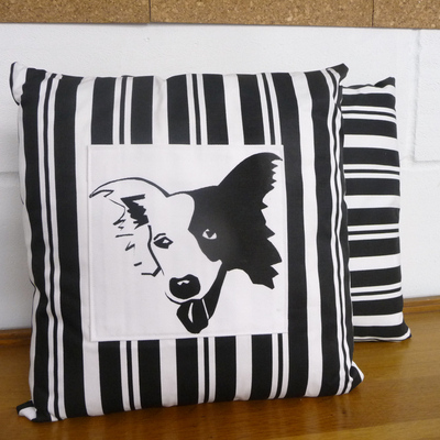 Border Collie Cushion - Butcher Stripe