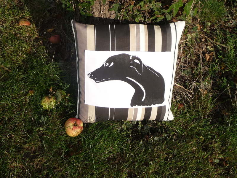 Greyhound onyx panel cushion