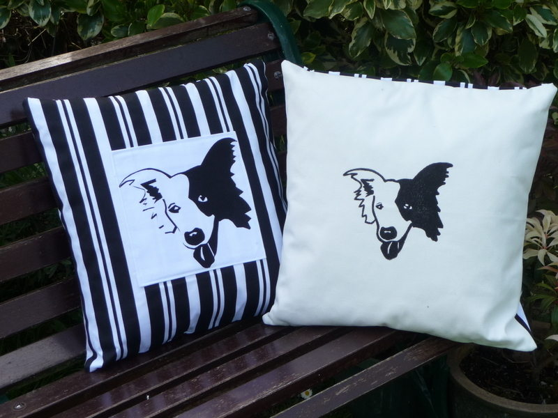 Border Collie - butcher stripe cushion