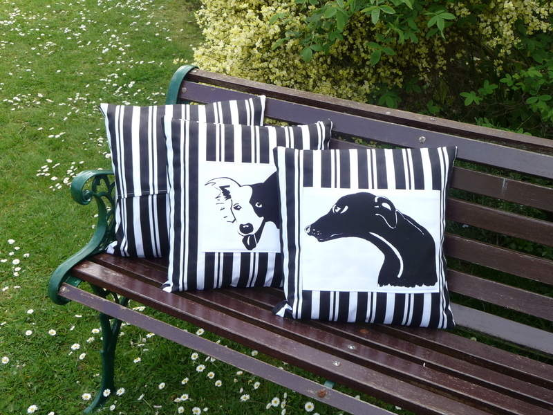 Greyhound Cushion - Butcher Stripe Panel