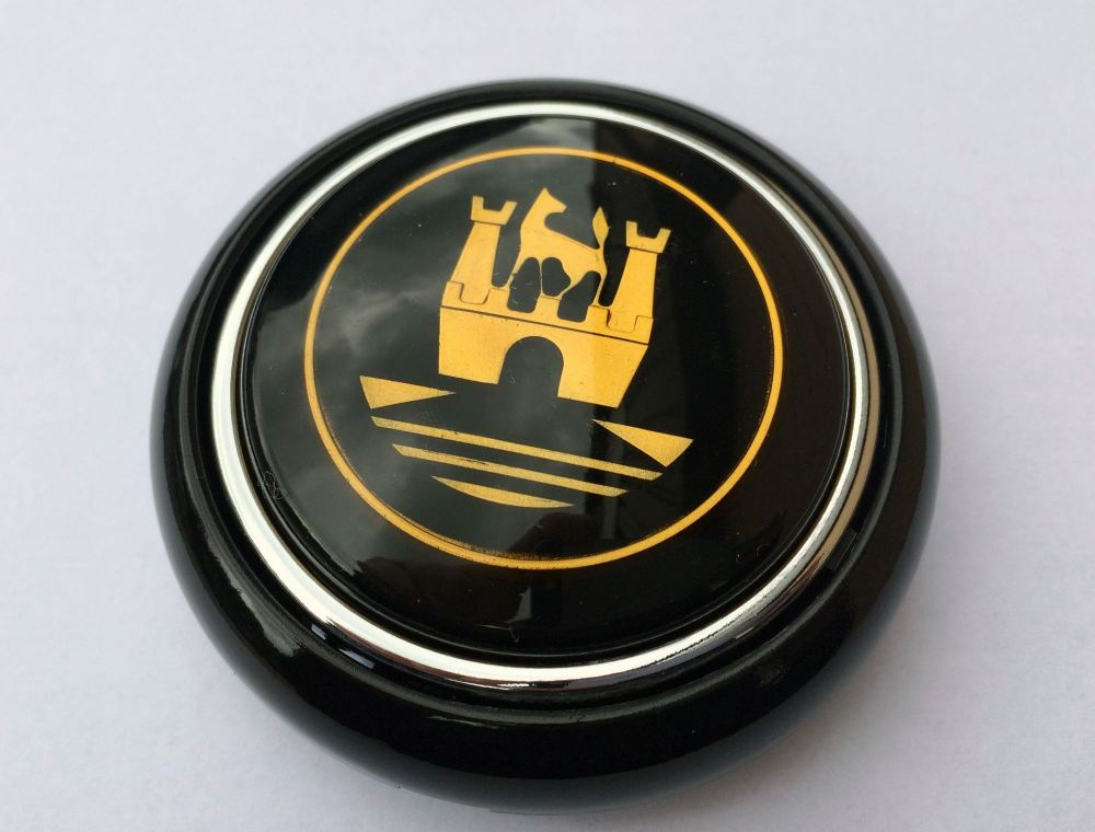 Steering Wheel Horn Push 55-67, Black with Gold Crest.   211-415-669BG