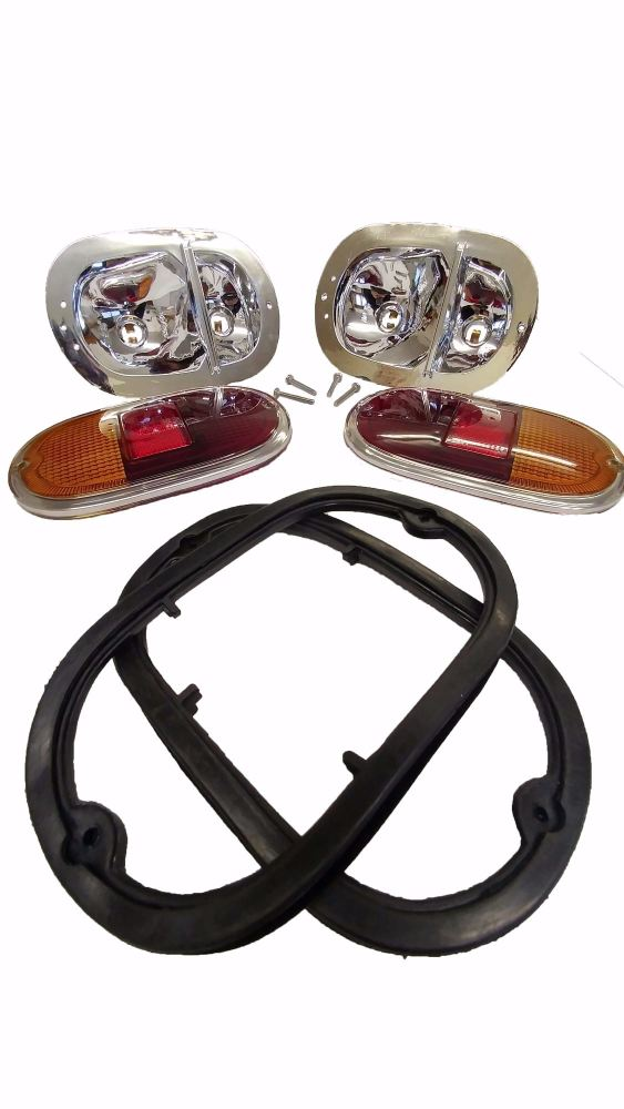Complete Rear Lights, Top Quality, Pair 62-71.   211-945-237BQKIT