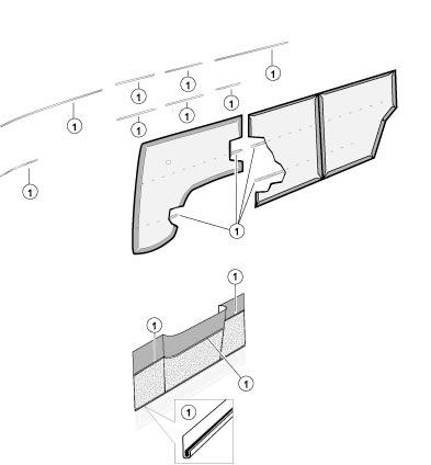 Door Panel Trim Kit, Fits Walk-Thru Apr '63 - '64. 221-853-004