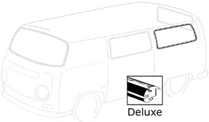 Deluxe Rear Side Window Seal, 68-79. Fits Bus Without Side Vent Window. 244-845-341B