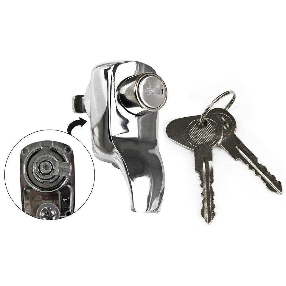 Tailgate Lock, Top Quality, Chrome 1967 only.   211-829-231