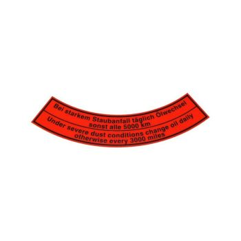 Sticker for Early Oil Bath Air Filter.    111-129-614