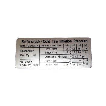 Sticker for Tyre Pressure.   AC853971