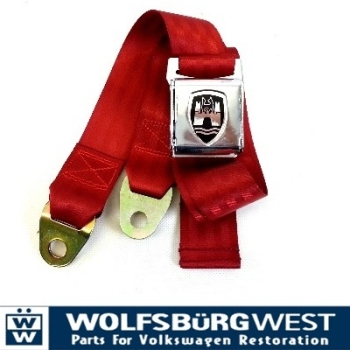 2-Point Seat Belt, Red, Chrome Buckle 50-79.   ZVW20CRRD