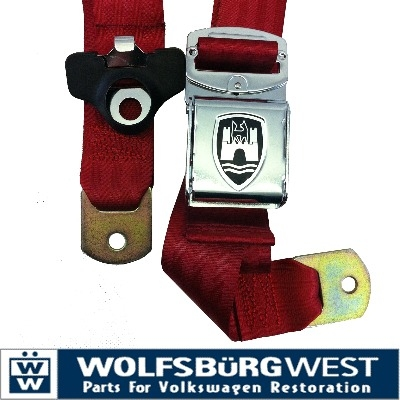 3 - Point Seat Belt, Red, Chrome Buckle ZVW20CRRD