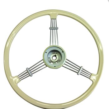 Flat 4 Banjo Steering Wheel, Ivory w/Boss, Top Quality 55-67.   AC400I235